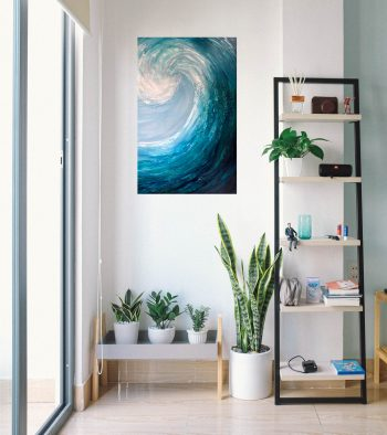 Emerald Surf II in a room setting oil on canvas painting of a large green wave cresting measuring 60 x 90 cm £350