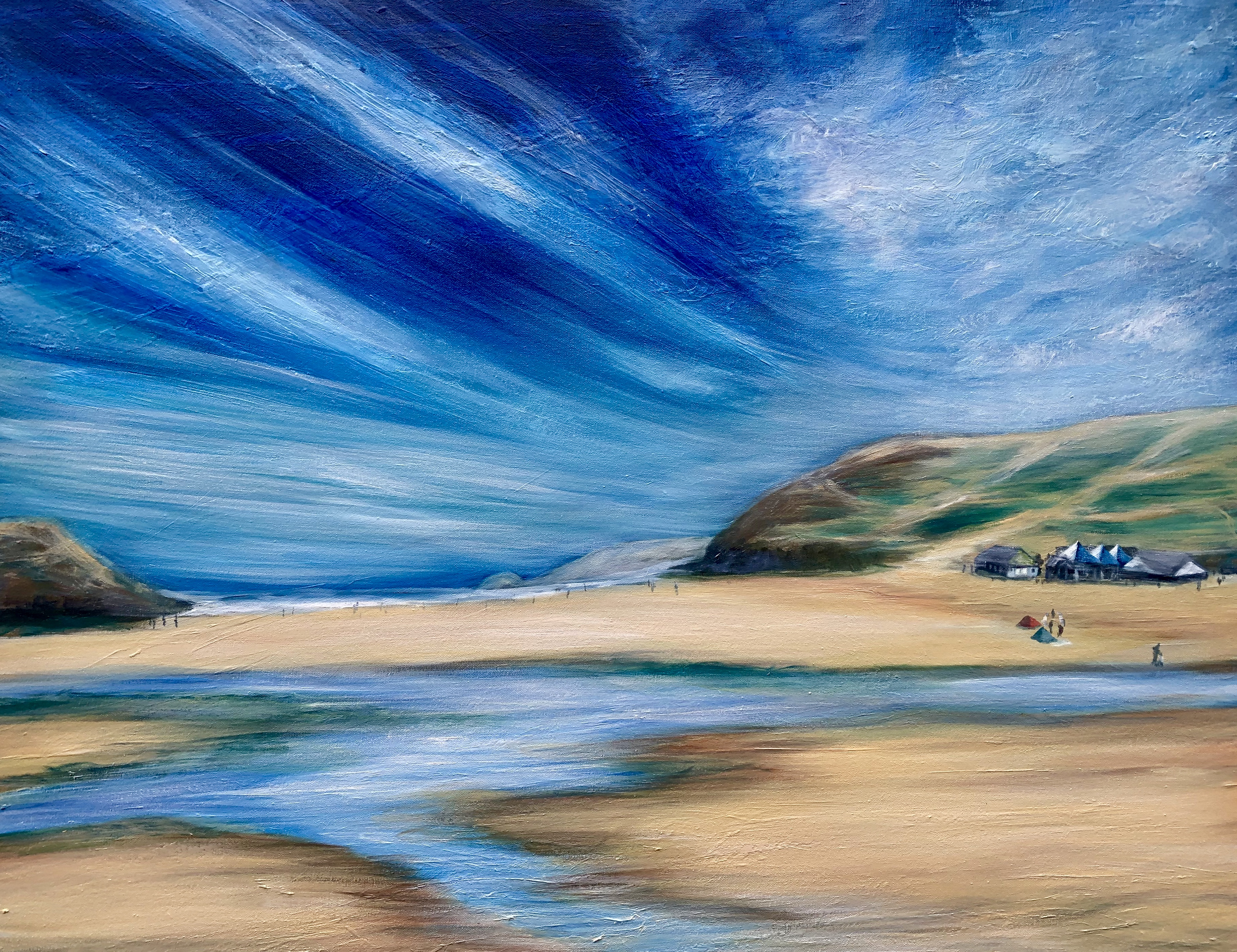 """Perranporth Beach, Cornwall"" OIl on canvas painting Height 28 ins x width 36 inches £350. Shows a large blue sky and wide beach with the Watering Hole cafe on the beach."