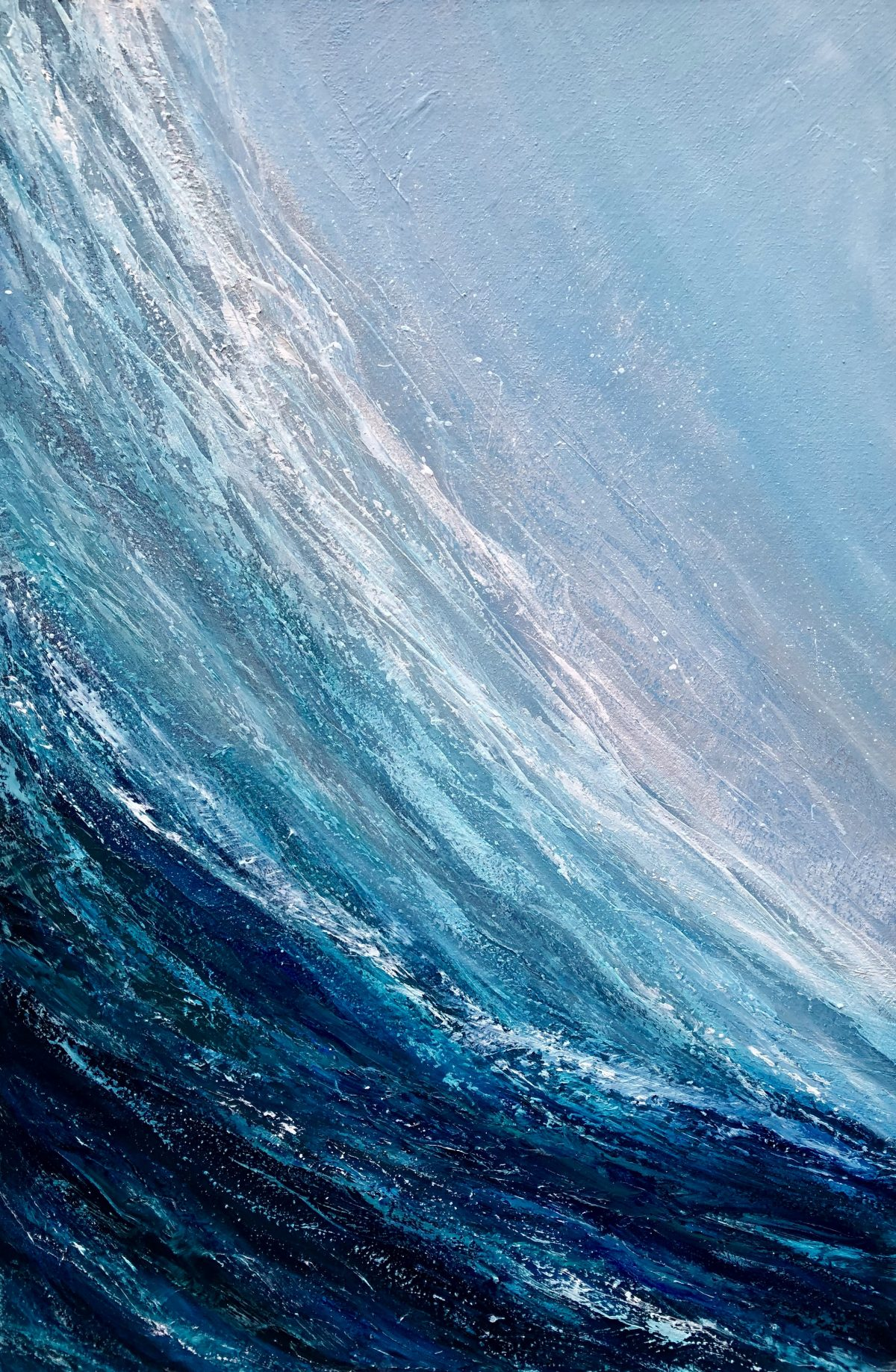 Surfing the Wave original oil on canvas surfing wave in blues and turquoise and measuring 60 x 90 cm £350 available www.catherinekennedy.co.uk