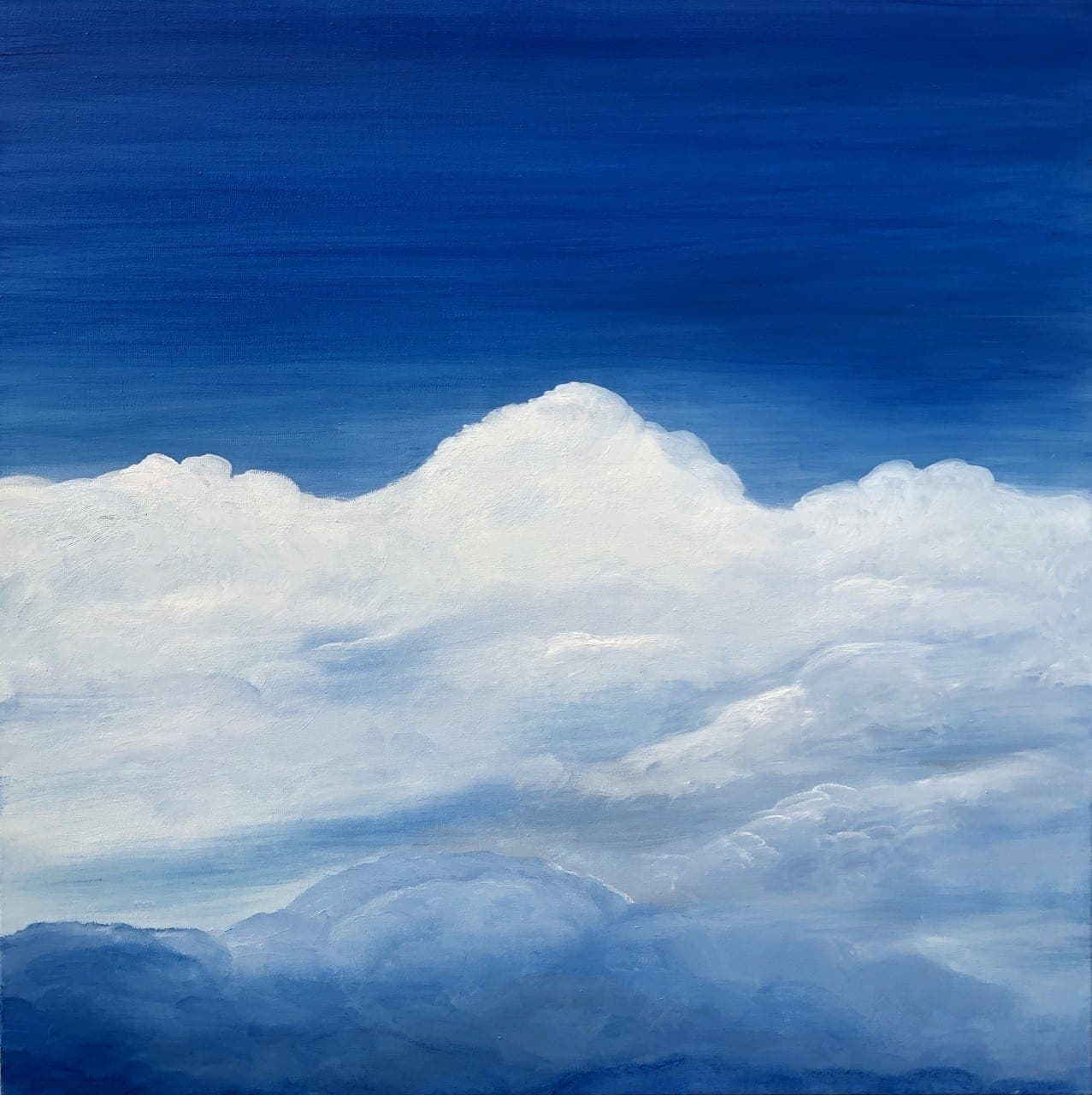 Atomosphere II original oil on canvas painting measuring 60 x 60 cm or 23.5 x 23.5 inches £250. Blue sky with white clouds across the horizon.