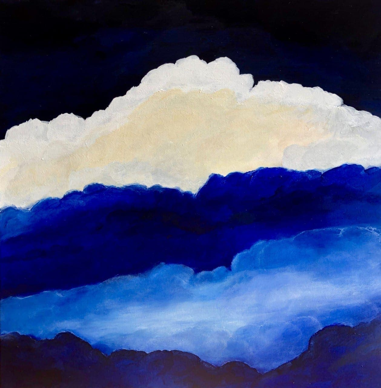 """Atmosphere"" oil on canvas painting of clouds measuring 60 x 60 cm or 23.5 x 23.5 inches. With blue and white clouds and a deep indigo blue sky."