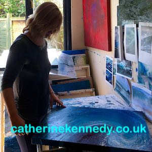 Devon Artist Catherine Kennedy at work in her studio