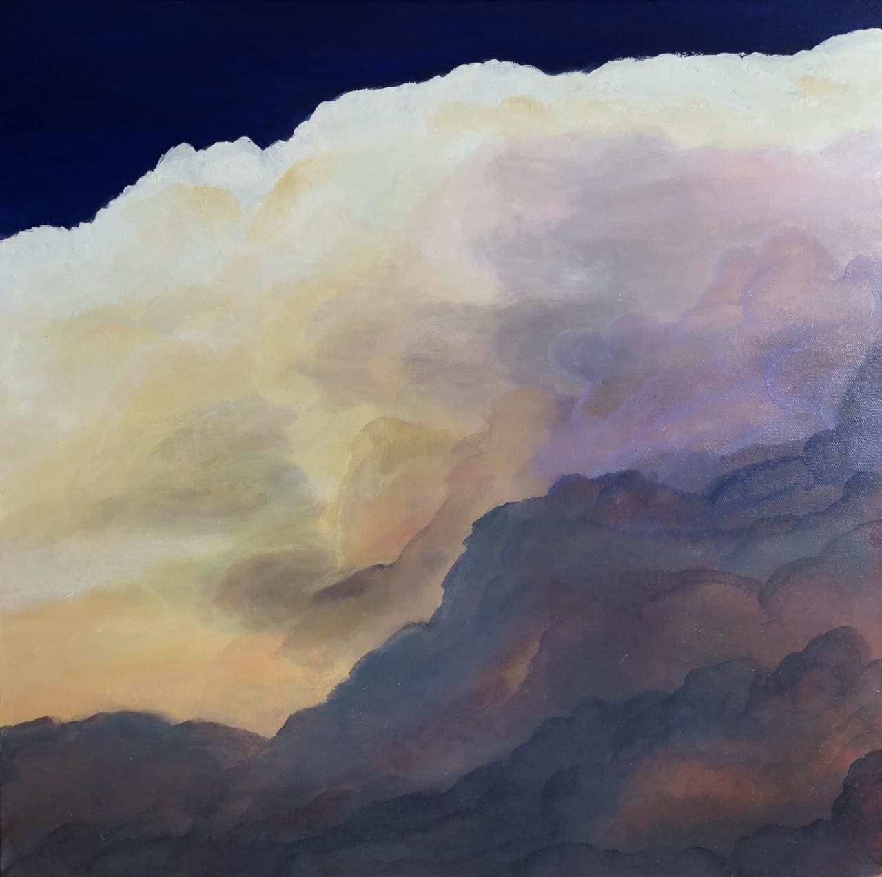 """Clouds II"" an original oil on canvas Measuring width 23.5 x height 23.5 x depth 1.5 inches or 60 x 60 cm x 4 cm. Unframed. Ready to hang. Comes with a certificate of authenticity. £250"