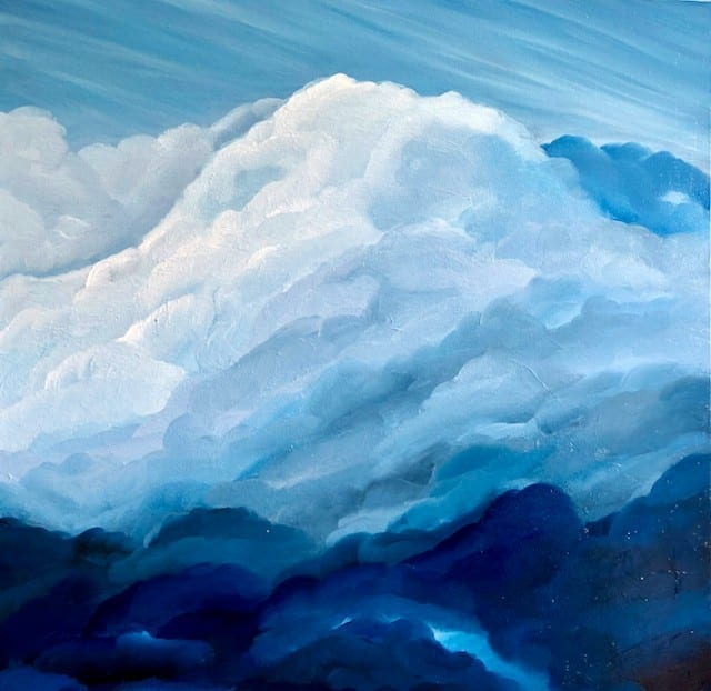 """""""Atmosphere III"""" an original oil on canvas painting. Measuring width 23.5 x height 23.5 x depth 1.5 inches or 60 x 60 cm x 4 cm. Unframed. Ready to hang. Comes with a certificate of authenticity"""
