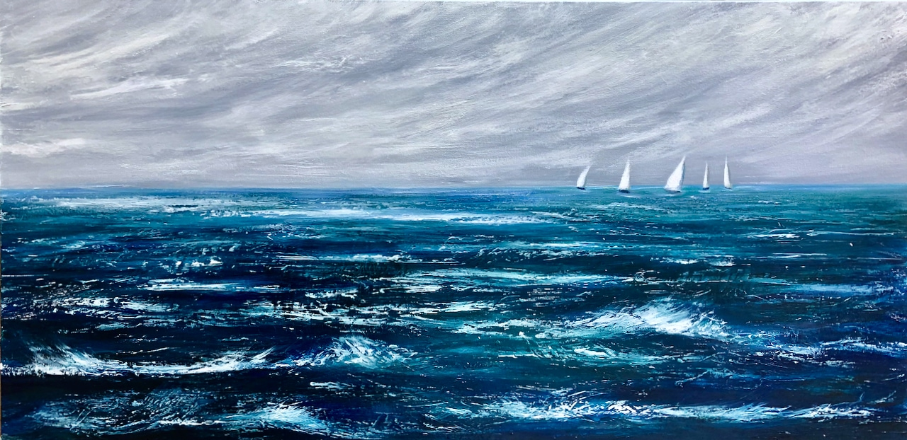 """""""Racing out at Sea"""" original oil on canvas painting measuring 100 x 50 cm or 39.5 x 19.5 inches available at £350"""