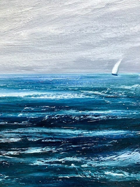 """""""Racing out at Sea"""" detail of original oil on canvas painting measuring 100 x 50 cm or 39.5 x 19.5 inches available at £350"""