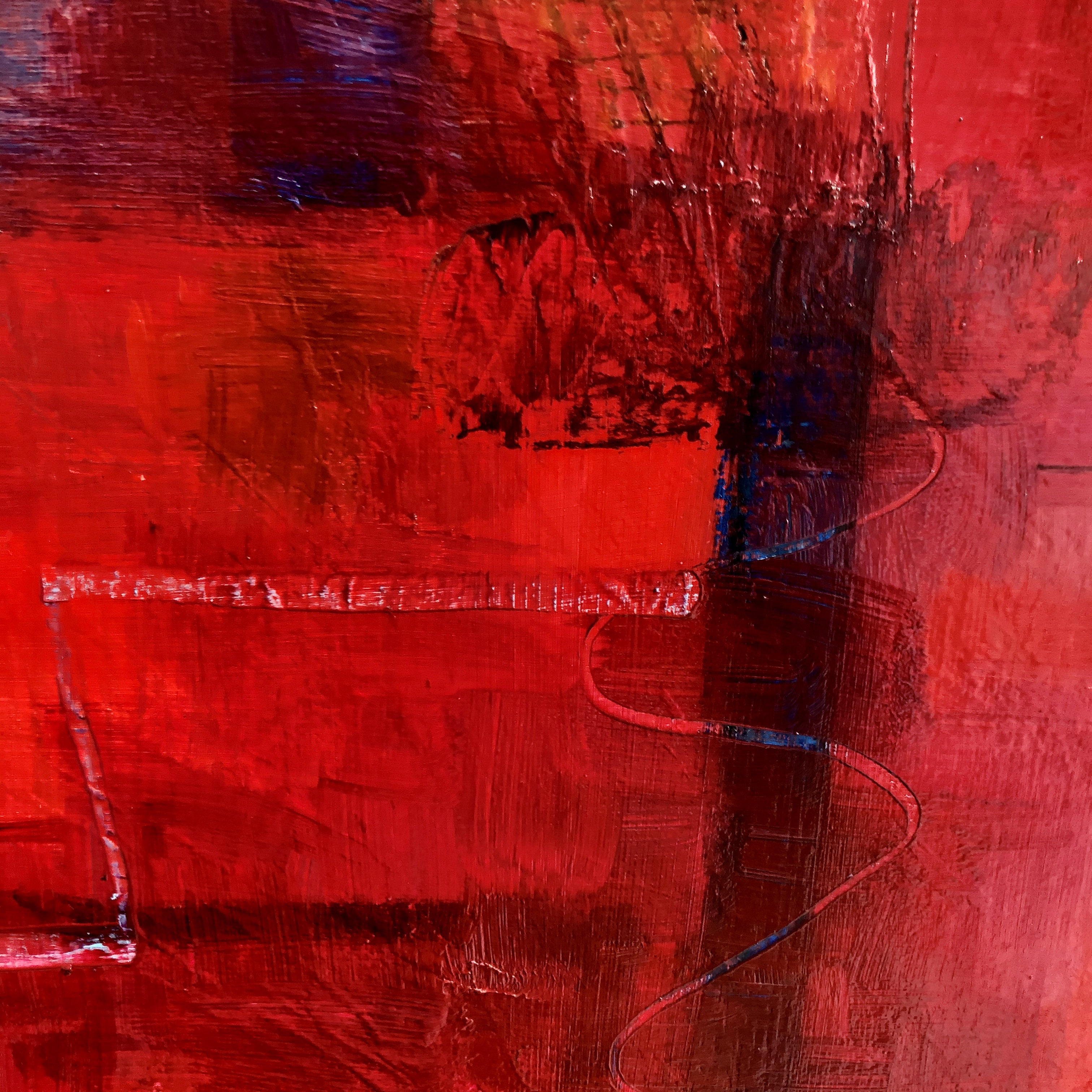 Abstract Red oil on canvas painting 80 x 80 cm £450