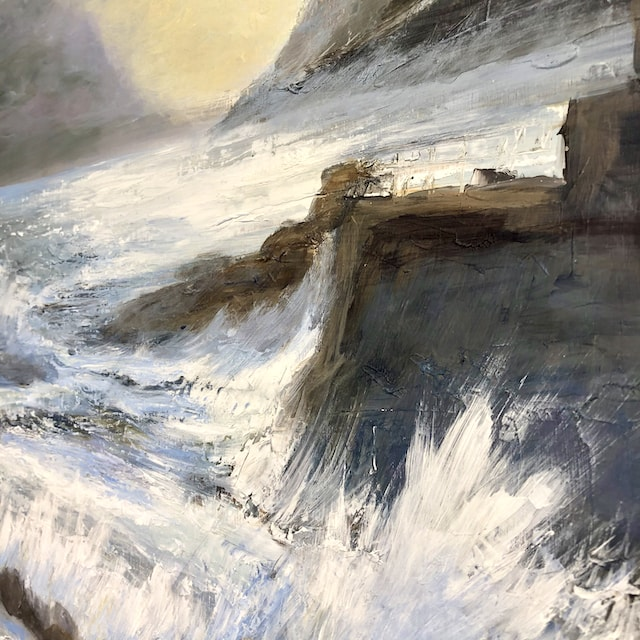 """""""Safe Harbour"""" detail Original Acrylic painting on board. Width 61 x Height 61 cm or 24 x 24 inches. Signed. Unframed. With a certificate of authenticity."""