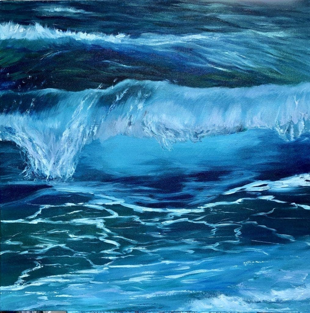 Stage Two of Turquoise Wave painting