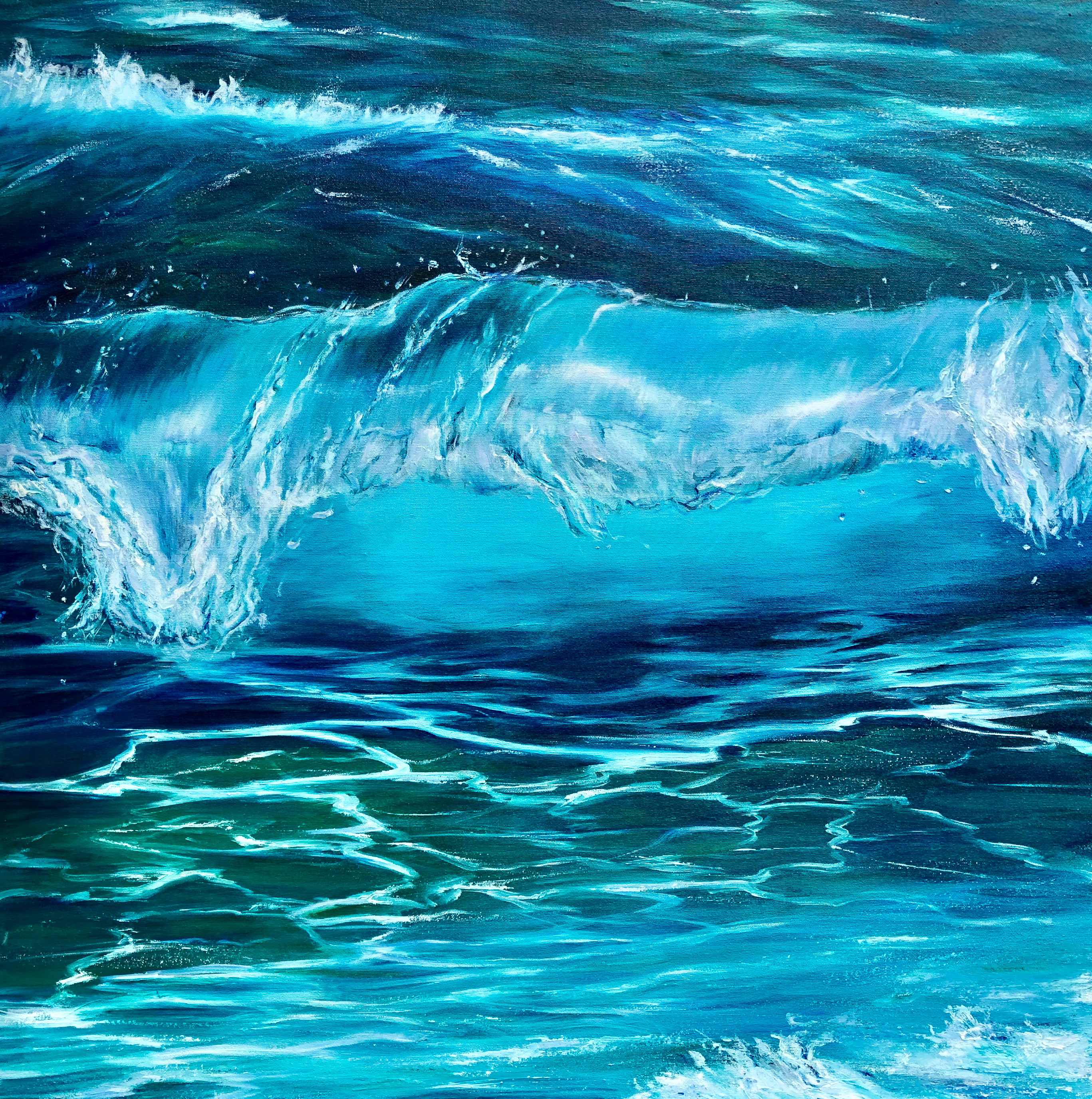 """Turquoise Wave II"" Oil on canvas. Width 80 x Height 80 cm or 31.5 x 31.5 inches. Signed.Framed in a white stained wooden frame. With a certificate of authenticity. Ready to hang"