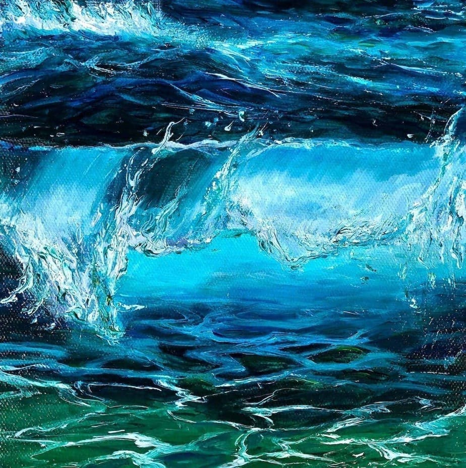 """Turquoise Wave III"" giclée fine art print is available in 3 sizes on Hahnemüle Pearl paper."