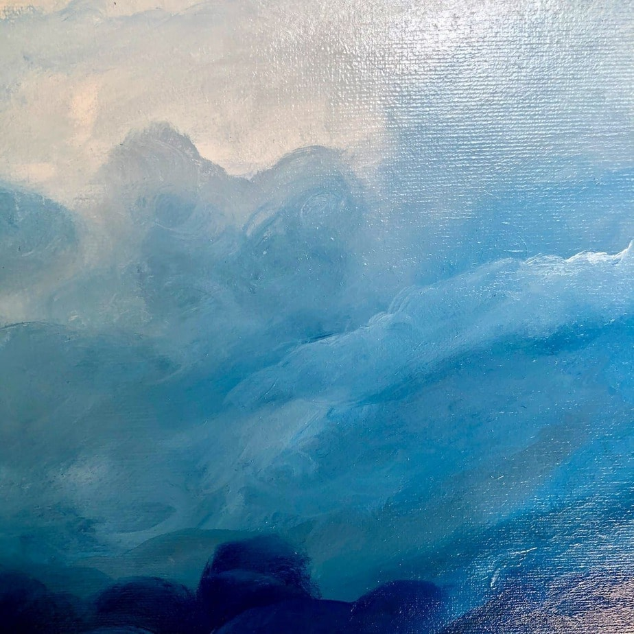 Atmosphere IV detail of oil on canvas painting of clouds measuring 60 x 60 cm £250