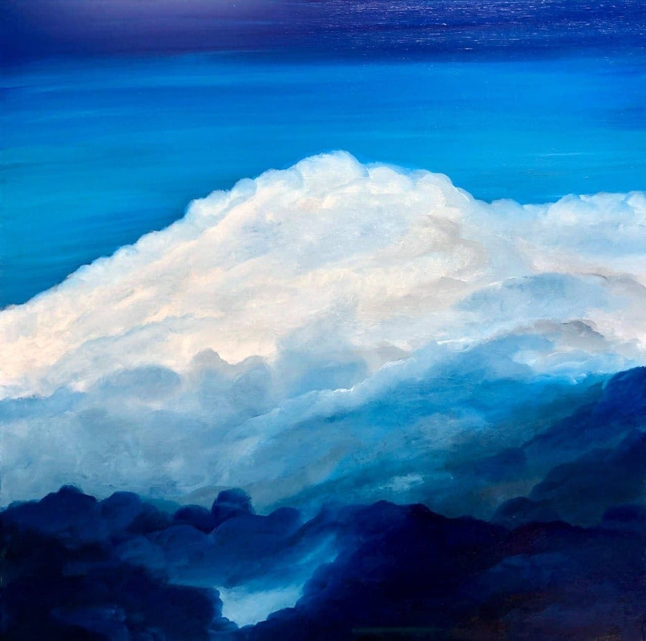Atmosphere IV detail of oil on canvas painting of clouds measuring 60 x 60 cm £200 #artistsupportpledge