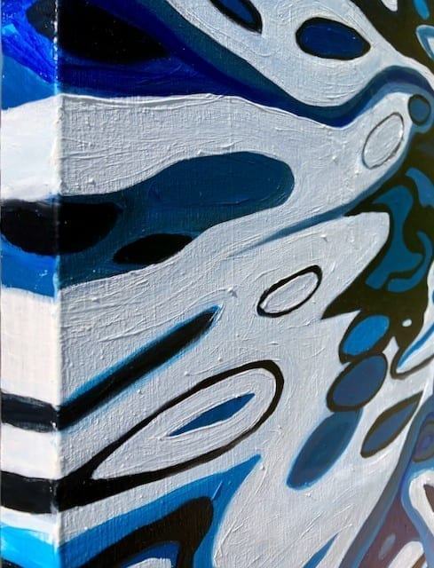 'Abstract Blue River II' detail. original oil on canvas painting measuring 60 x 90 cm available for sale at £375