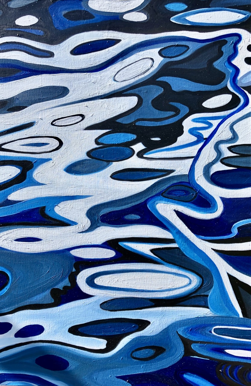 'Abstract Blue River II' original oil on canvas painting measuring 60 x 90 cm available for sale at £375