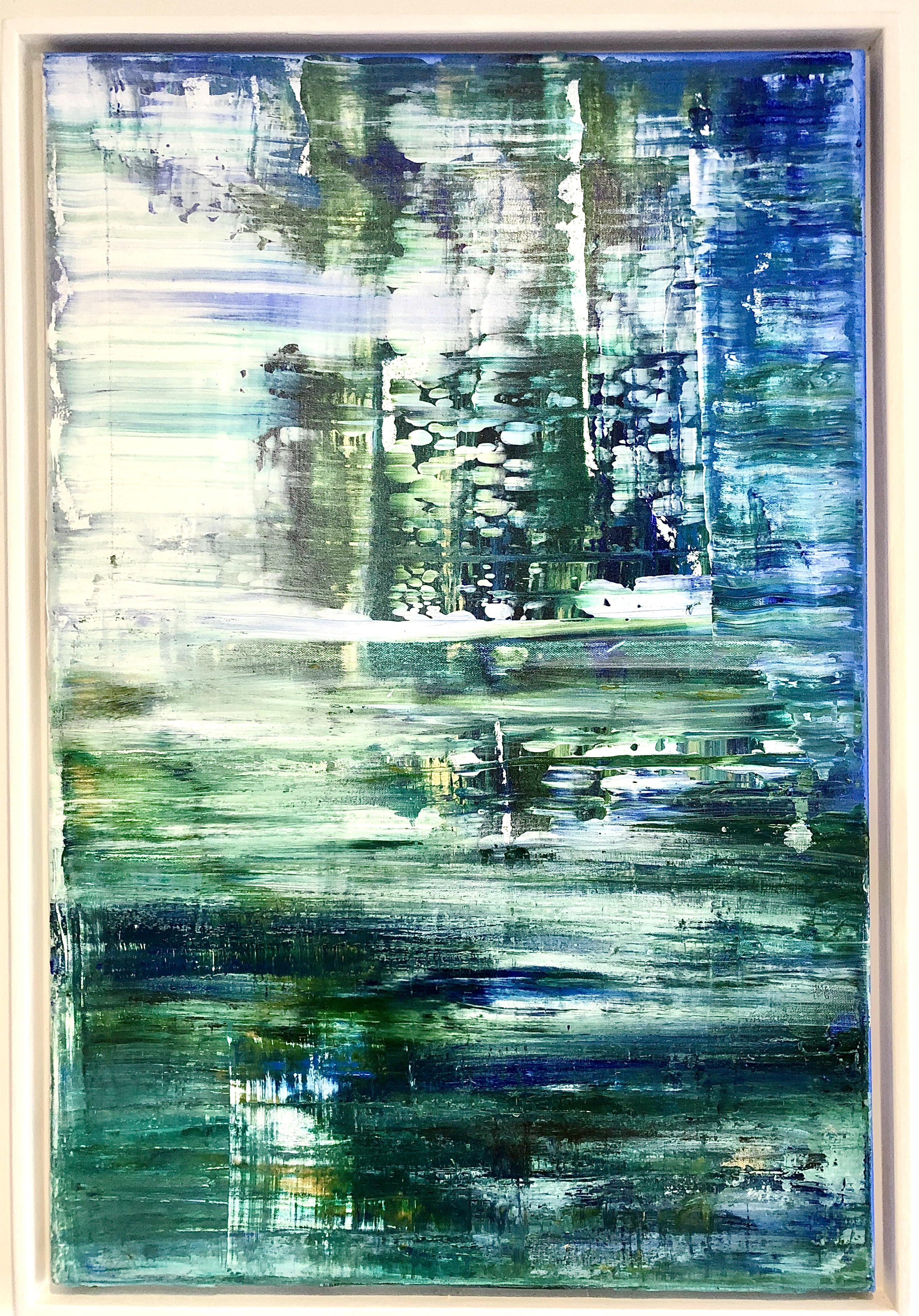 """Abstract blue and green light"". This is an original acrylic on canvas by Catherine Kennedy Width 51cm Height 76cm or 20ins x 30ins. Framed in a whitewashed wooden frame finished with beeswax. Signed. Comes with a certificate of authenticity. #artistsupportpledg"