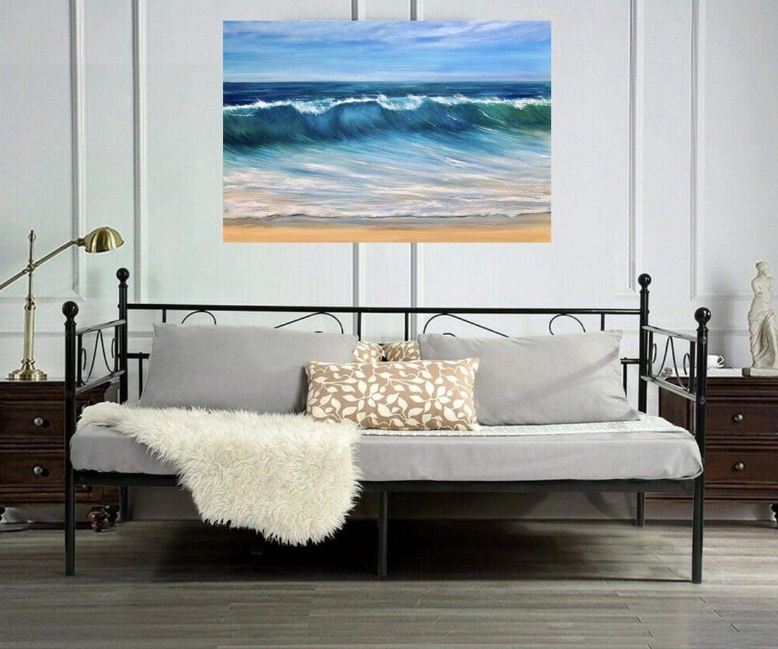 """Ocean Beach"" giclee print in a Room Setting. Available in 3 sizes from £49 - £100"