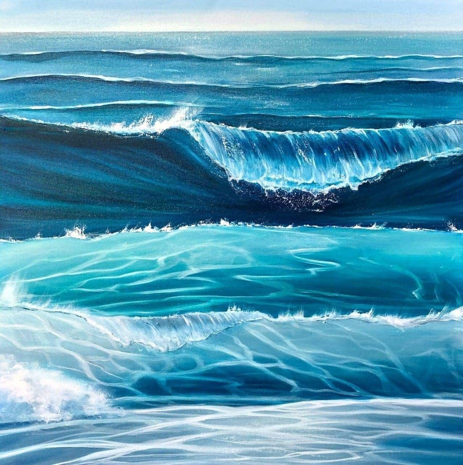 """""""Ocean Waves"""" original oil on canvas painting measuring 80 x 80 cm or 31.5 x 31.5 inches £450"""
