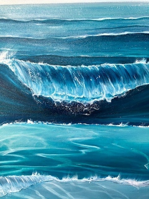 """""""Ocean Waves"""" detail of an original oil on canvas painting measuring 80 x 80 cm or 31.5 x 31.5 inches £450"""