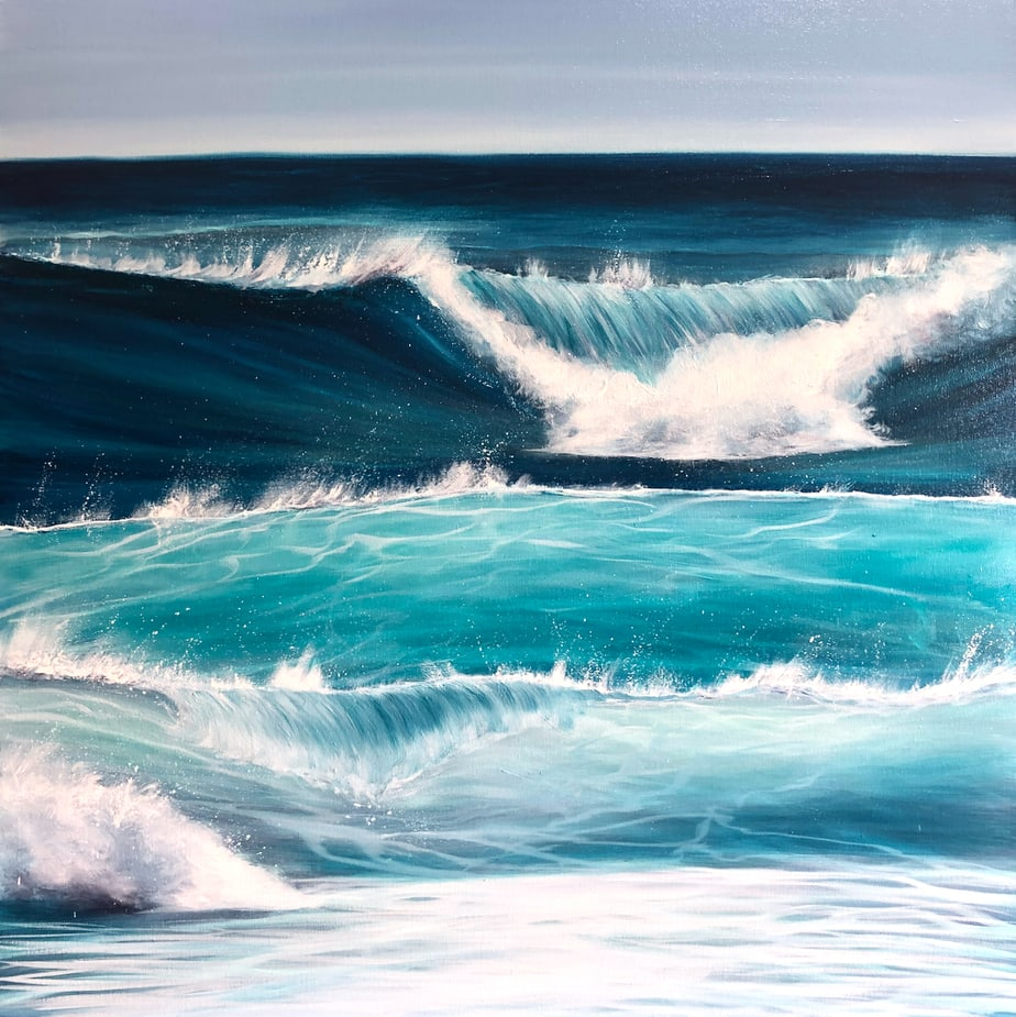"""Ocean Waves"" Original oil on canvas. Width 80cm x Height 80cm or 31.5 x 31.5 inches. Signed. Unframed. With a certificate of authenticity. Free UK delivery."