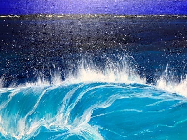 """""""Night Beach III"""" detail W:40 x H:30 inches oil painting inspired South Devon & Cornish coastline. It shows a turquoise wave cresting at night onto a sandy beach."""