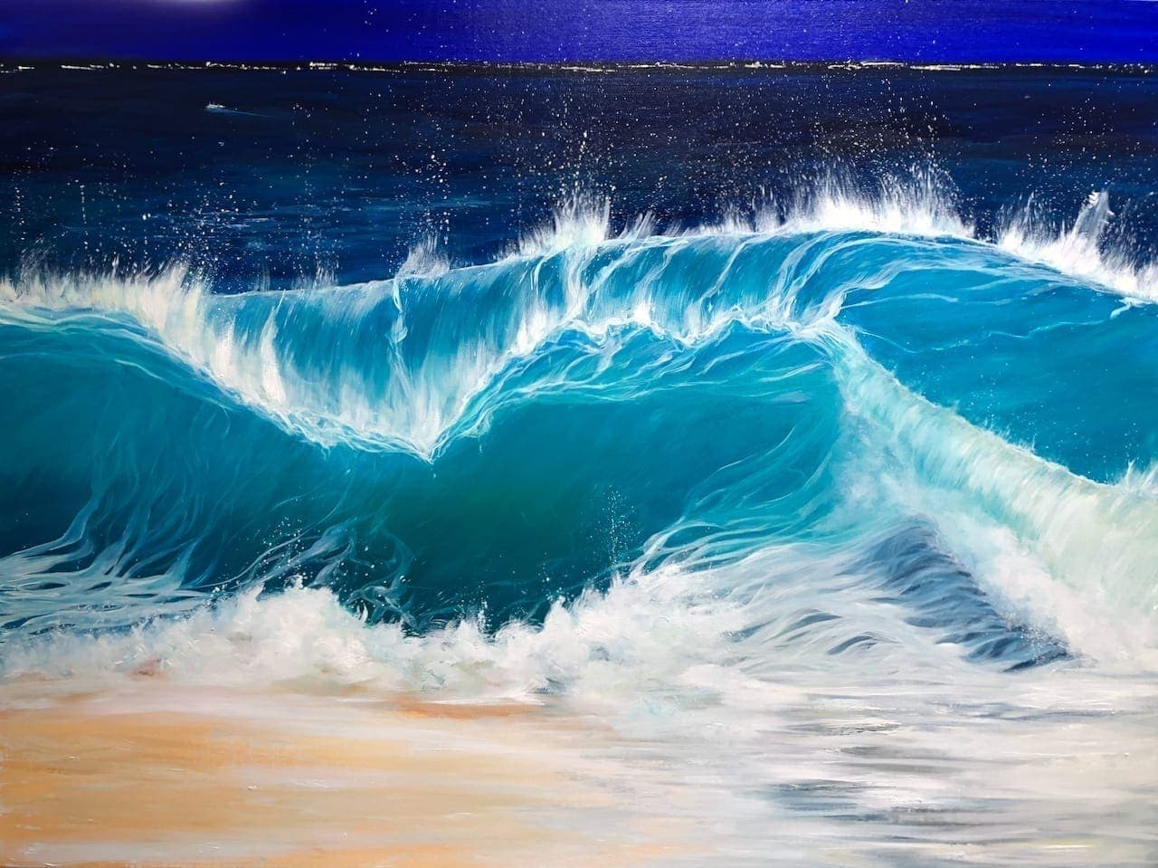 """""""Night Beach III"""" W:40 x H:30 inches oil painting inspired South Devon & Cornish coastline. It shows a turquoise wave cresting at night onto a sandy beach."""