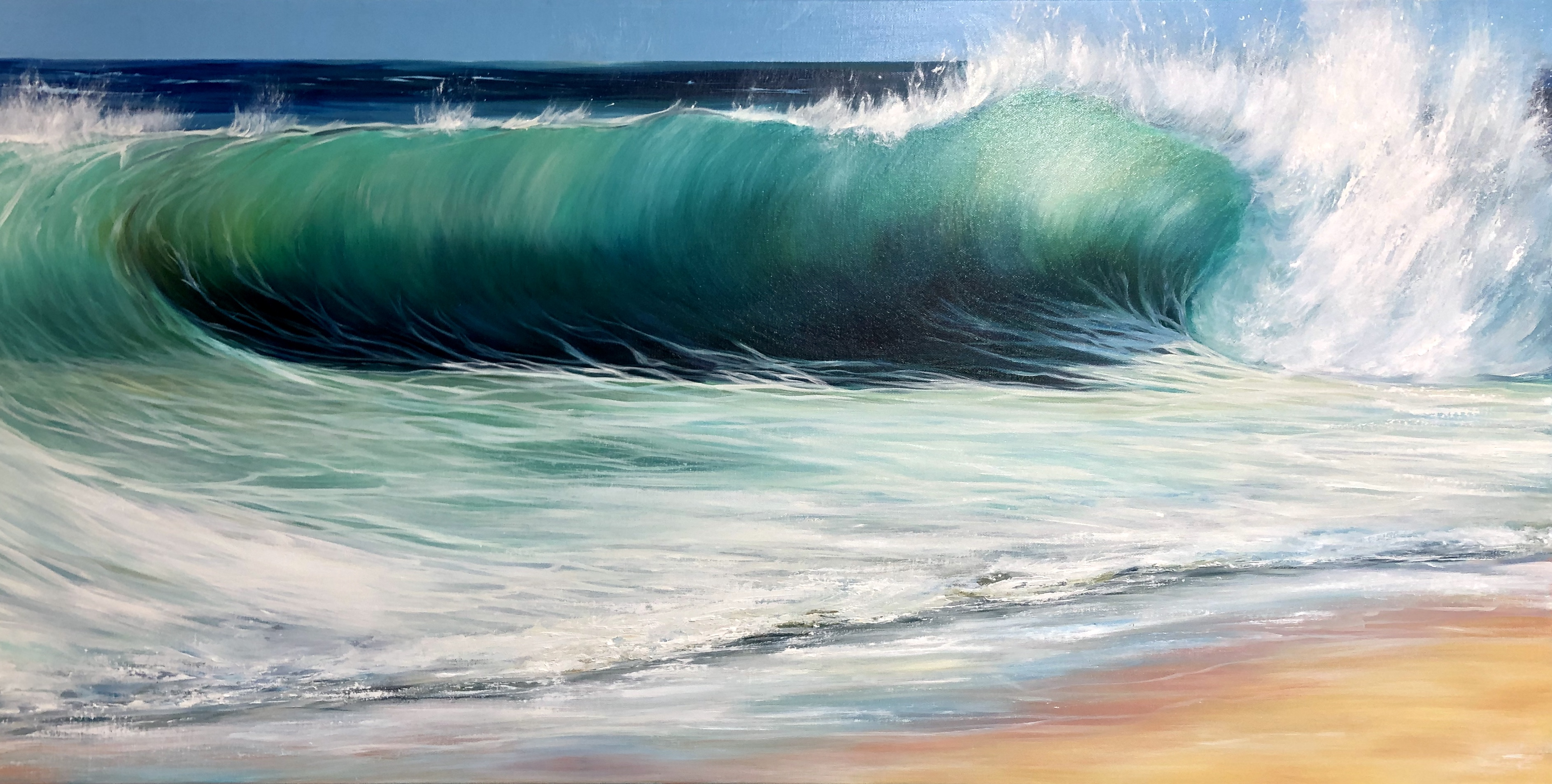 Ocean Beach III Original oil painting on canvas. Width 122cm x Height 61cm or 48 x 24 inches. Signed. Unframed. With a certificate of authenticity.
