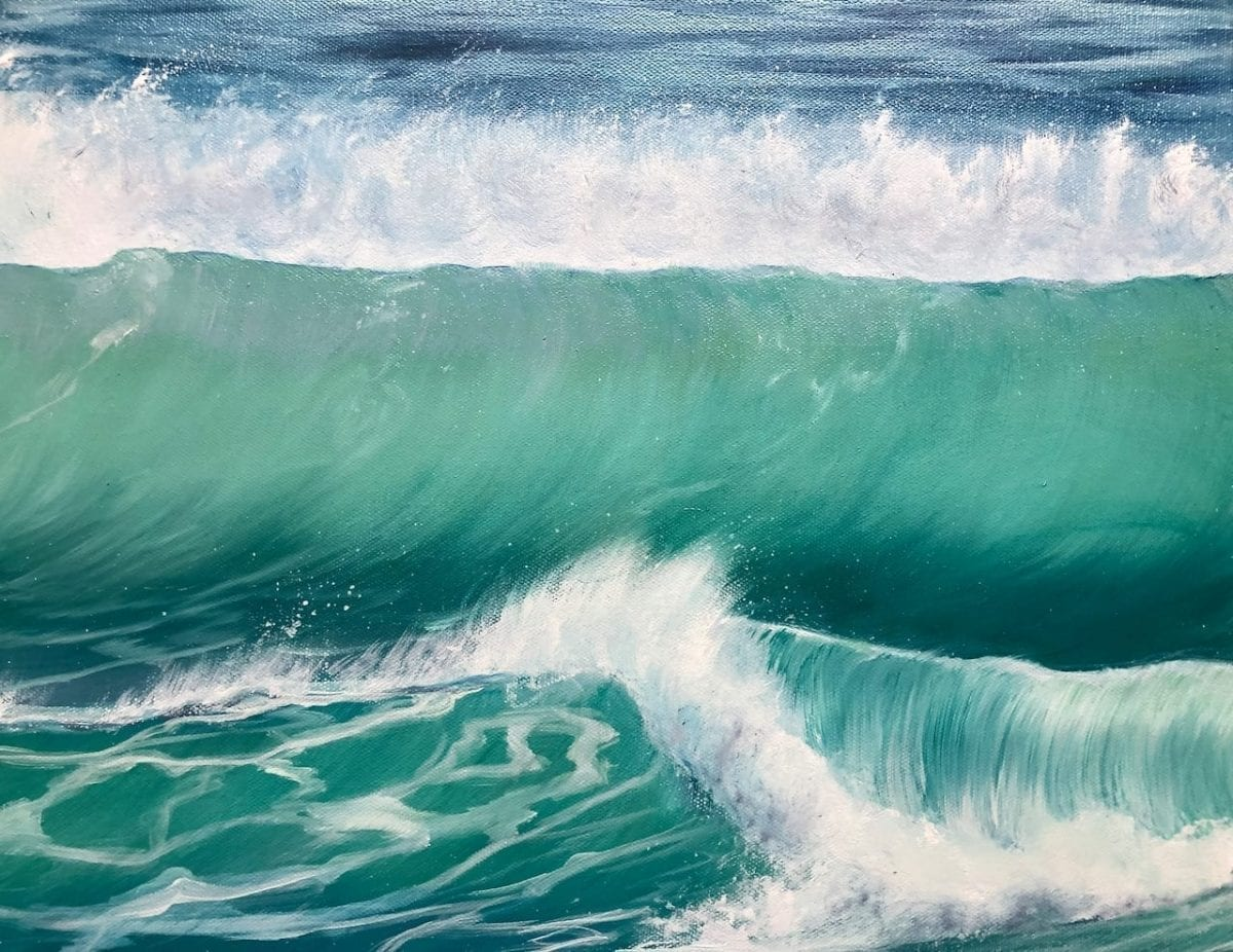 'Winter Surf' detail of an Original oil painting on canvas. Width 122cm x Height 61cm or 48 x 24 inches. Signed. Unframed. With a certificate of authenticity.