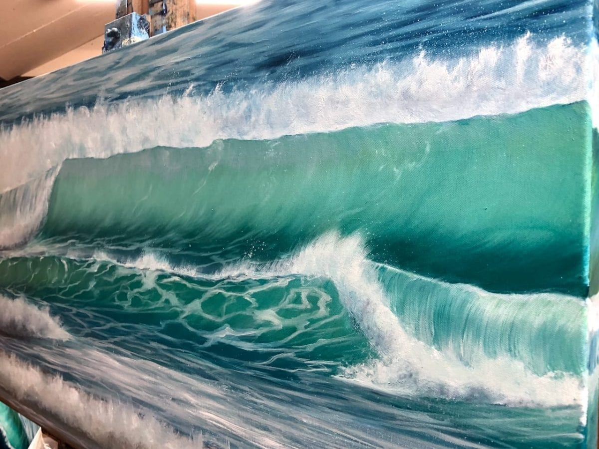 Winter Surf detail of an Original oil painting on canvas. Width 122cm x Height 61cm or 48 x 24 inches. Signed. Unframed. With a certificate of authenticity.