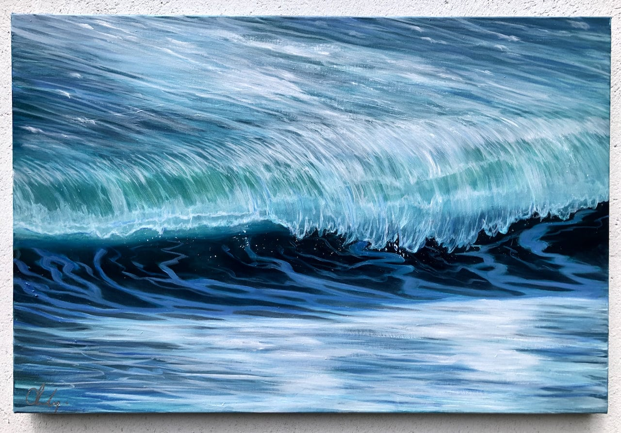 Emerald Wave II original oil painting on canvas 76 x 51cm or 30 x 20 inches. £350. Free delivery. Cornish Seascape painting on canvas.