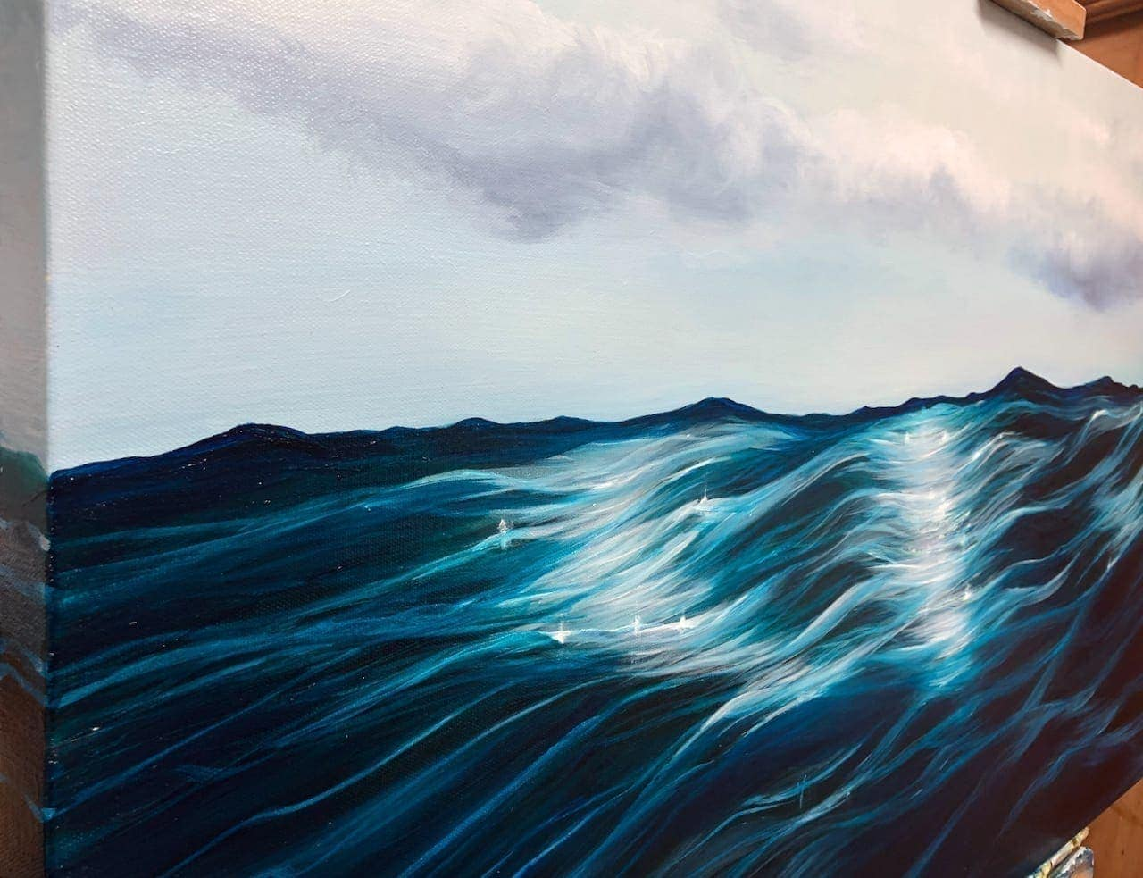 """""""Into the Blue"""" Original oil painting on canvas. Width 122cm x Height 61cm or 48 x 24 inches. Signed. Unframed. With a certificate of authenticity."""