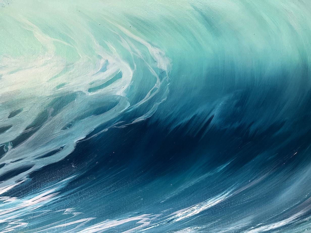 Emerald Waves II detail of an original oil on canvas painting. Width 102cm x Height 76cm or 40 x 30 inches. Signed. Unframed. With a certificate of authenticity. Free UK Shipping.
