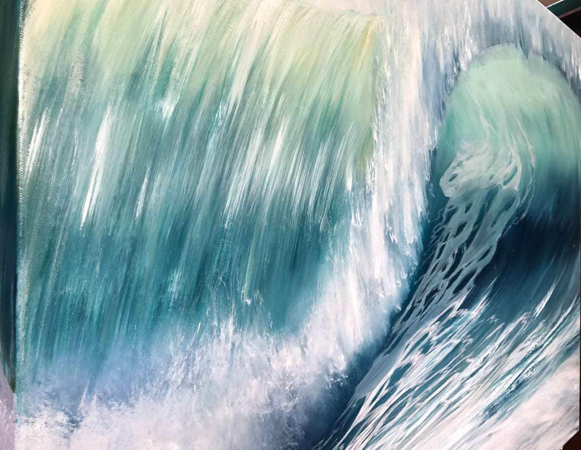 Emerald Waves II side detail of an original oil on canvas painting. Width 102cm x Height 76cm or 40 x 30 inches. Signed. Unframed. With a certificate of authenticity. Free UK Shipping.